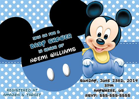Mickey Mouse Baby Shower Invitations Mickey Mouse Baby