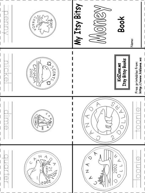 canadian money coins book printable free mini books