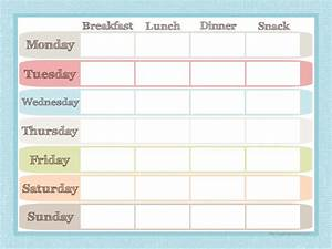 Menu planner and grocery list printable set menu for Lunch roster template