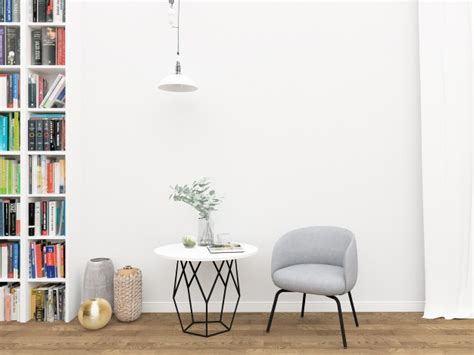 scandinavian interior blank wall mockup photo premium