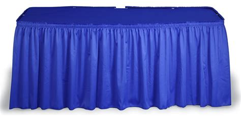 trade show table skirts this blue table skirt for trade shows makes tables stand