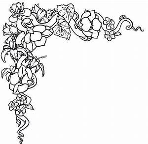 Flower border black and white flower clip art flower ...