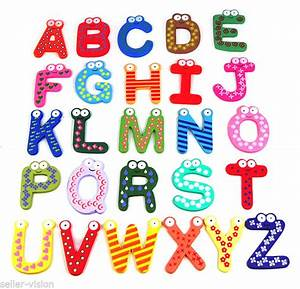fridge magnetic alphabet letters 26 wooden upper case a z With refrigerator letter magnets