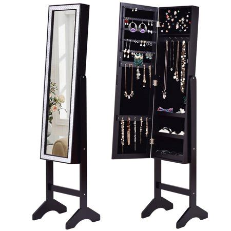 Black Jewelry Armoire Walmart by Gymax Black Mirrored Jewelry Cabinet Armoire New Walmart