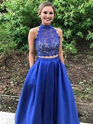 965072c61a Vestidos de Graduacion Lace Satin High Neck 2 Piece Prom Dresses Floor  Length Formal Dress Women