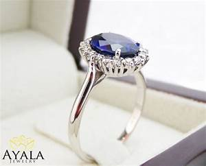 diana ring 14k white gold blue sapphire engagement ring With princess diana wedding ring set