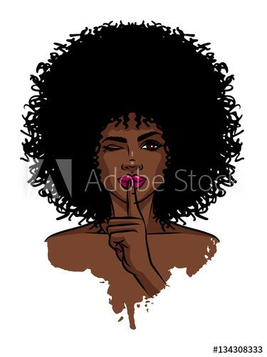 young sexy dark skinned women afro american girl holding