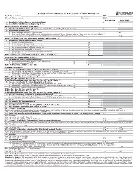 rev  shareholder tax basis  pa  corporation stock
