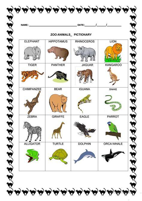 zoo animals pictionary worksheet free esl printable