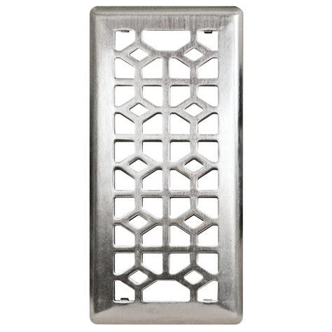 4 in x 10 in steel floor register in brushed nickel