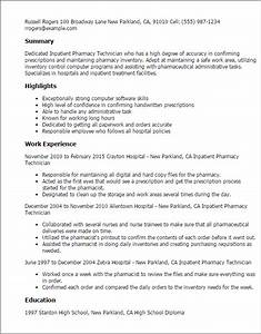 professional inpatient pharmacy technician templates to With pharmacy technician resumes templates