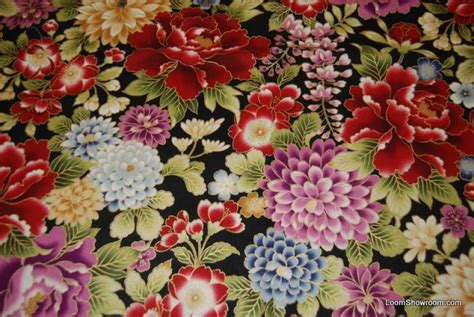 Stoffe Orientalische Muster by T326 Asian Japan Metallic Floral Quilt Fabric