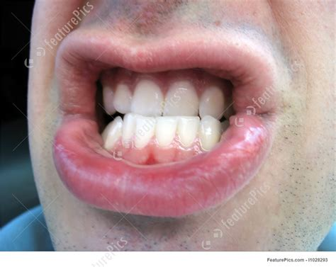 human body parts angry mouth stock picture