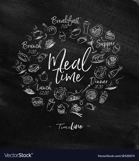 monogram meal time chalk royalty  vector image