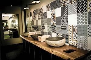 deco salle de bain carrelage mural With salle de bain design avec tôle décorative perforée