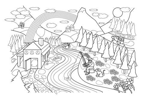 Dibujo para colorear de un paisaje rural