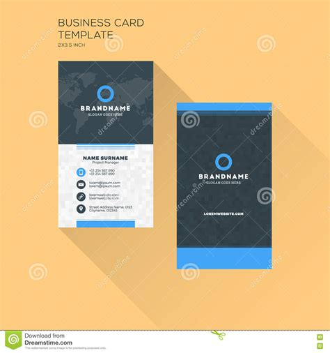 vertical business card print template personal business card wi stock vector illustration of