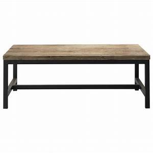 table basse indus en bois et metal long island maisons With tables maisons du monde
