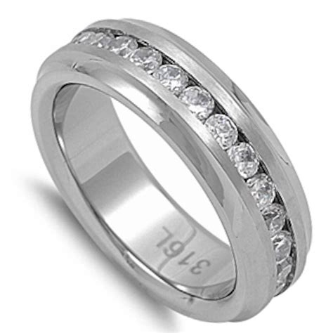 Cz Engagement Wedding Band 316l Stainless Steel Ring Sizes