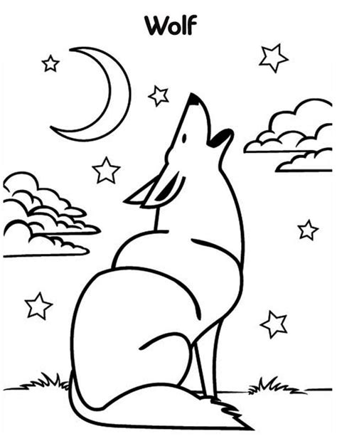 wolf howling coloring page  print