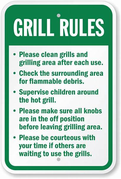 Rules Grill Sign Grilling Clean Area Grills