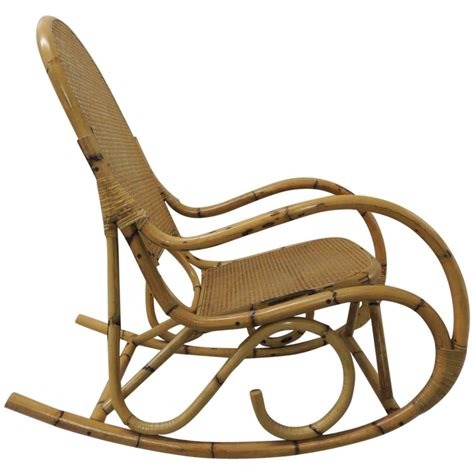 vintage bamboo and wicker armed rocking chair for sale at