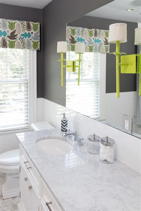 White Bathroom With Color Accents by Charcoal Gray And Lime Green Kid Bathroom Accent Colors