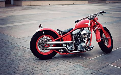 Bike Classic Fog Harley Davidson Motorcycle Motorcyclist Old Race Red Speed Bobber Wallpaper