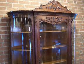 american victorian carved oak curved glass china curio