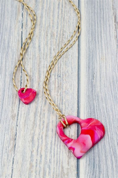 mother  child heart necklace polymer