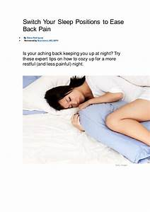 switch your sleep positions to ease back pain With best way to sleep with a bad back