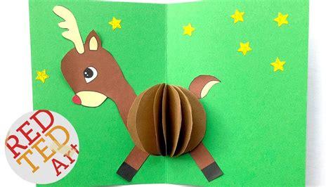 christmas card diy easy rudolph pop  card