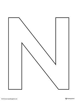 uppercase letter n template printable myteachingstation