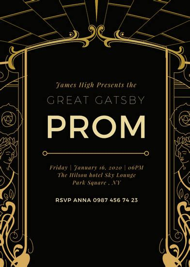 customize  great gatsby invitation templates