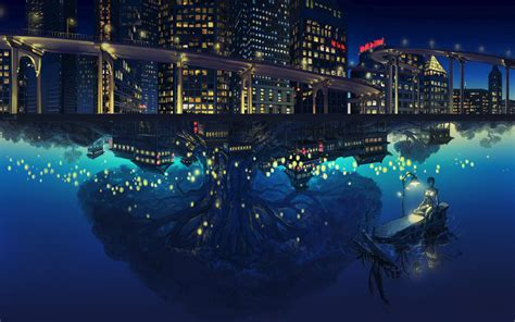 Anime Water Wallpaper - anime view trees reflection water building