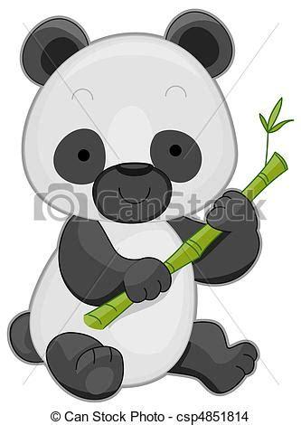 illustration   cute panda holding  bamboo stick