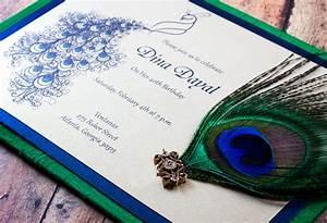 Peacock Indian wedding invitation - Fluid peacock design ...