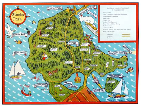 illustrated vancouver stanley park  map drawn