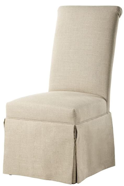 custom rolled back parsons chair with skirt dining