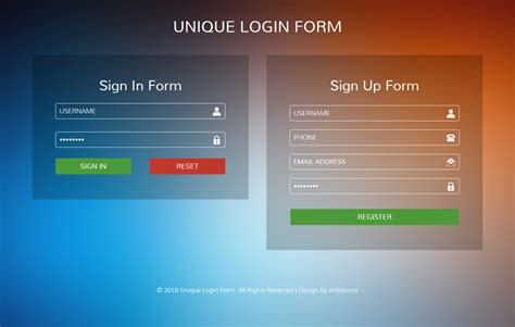 Login Template Unique Login Form Flat Responsive Widget Template