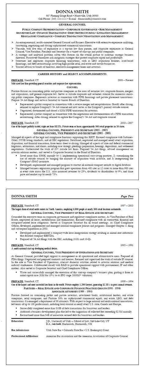 Pharmacy Intern Cover Letter Resume Sle 4 General Counsel Resume Career Resumes
