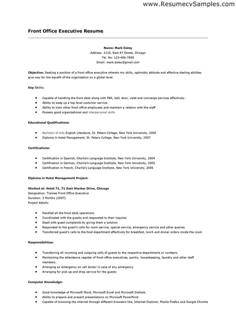 Hospital Receptionist Resume Sle by Receptionist Front Desk Resume Sales Receptionist Lewesmr