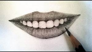 How To Draw Realistic Lips Using Pencil : Teeth And Lips ...