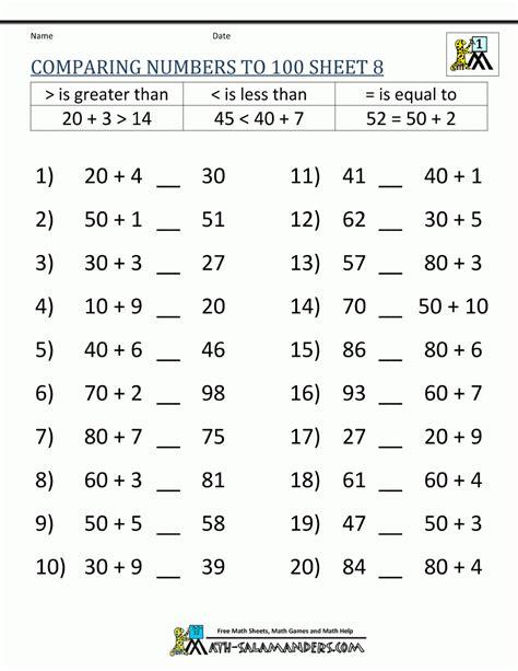 comparing numbers worksheets  grade numbersworksheetcom