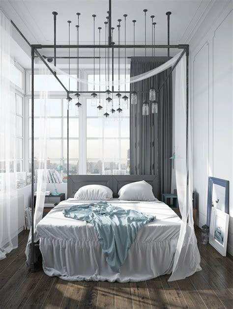 deco industrielle chambre lit baldaquin pour une chambre de déco romantique moderne