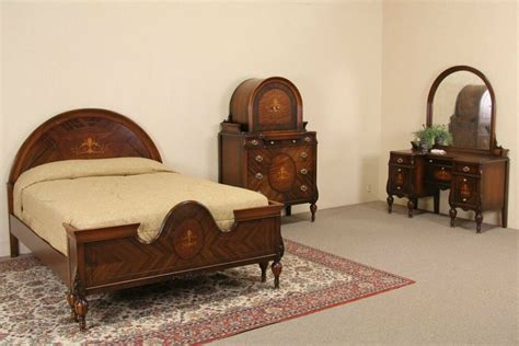 marquetry  full size antique bedroom set  pc ebay