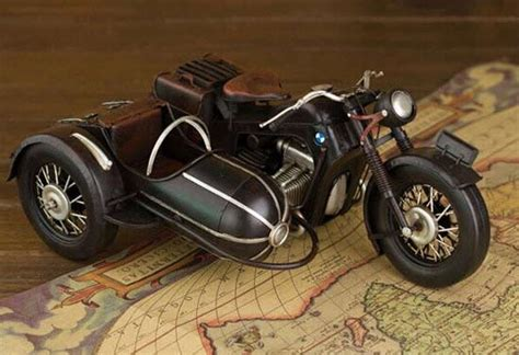 Medium Scale Black Vintage Bmw Three-wheeled Motorcycle