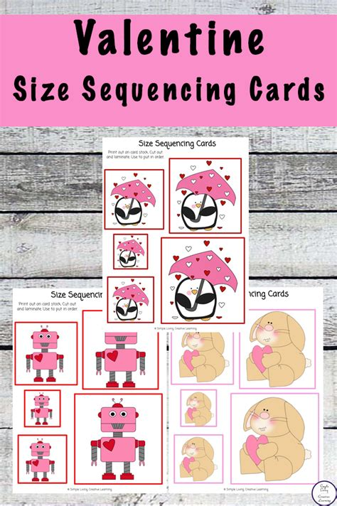 printable valentine size sequencing cards simple