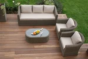 stunning table de jardin resine beige pictures awesome With canape d angle exterieur resine 5 collection salon de jardin kuopio en resine tressee beige