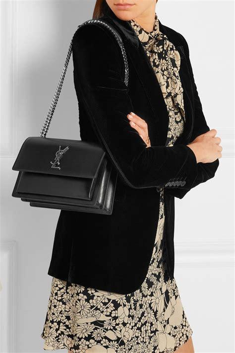 black sunset medium leather shoulder bag saint laurent fashion ysl sunset bag leather